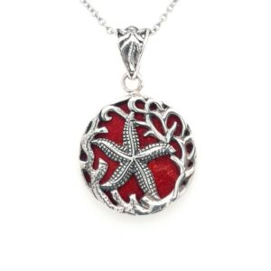 Leon Baker Sterling Silver and Red Agate Starfish Pendant_0