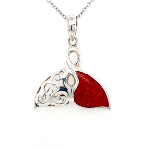 Leon Baker Sterling Silver and Red Agate Whale Tail Pendant_0