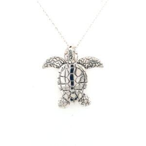Leon Baker Handmade Sterling Silver Turtle Pendant_0