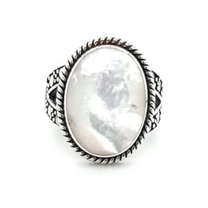 Leon Baker Sterling Silver and Mother of Pearl Ring_0