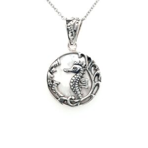 Leon Baker Sterling Silver and Mother of Pearl Seahorse Pendant_0