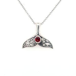 Leon Baker Sterling Silver and Garnet Whale Tail Pendant_0