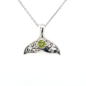 Leon Baker Sterling Silver and Peridot Whale Tail Pendant_0
