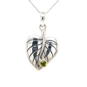 Leon Baker Sterling Silver and Peridot Leaf Pendant_0
