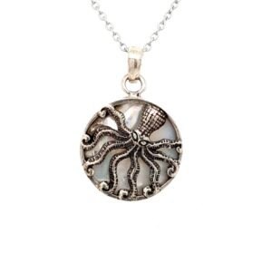 Leon Baker Sterling Silver and Mother of Pearl Octopus Pendant_0