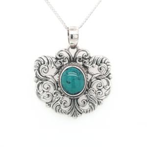 Leon Baker Sterling Silver Turquoise Pendant_0