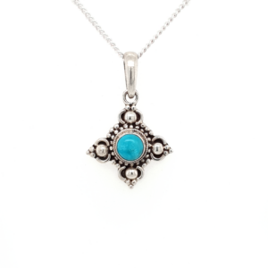 Leon Baker Sterling Silver and Turquoise Pendant_0