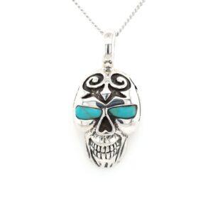 Leon Baker Sterling Silver and Turquoise Skull Pendant_0