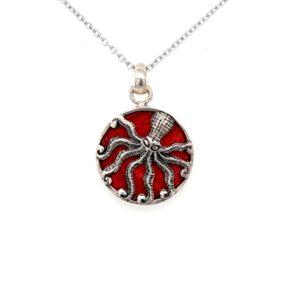 Leon Baker Sterling Silver amd Red Agate Octopus Pendant_0