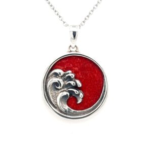 Leon Baker Sterling Silver and Red Agate Wave Pendant_0