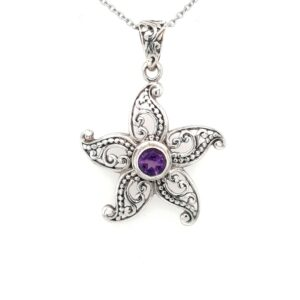 Leon Baker Sterling Silver and Amethyst Starfish Pendant_0