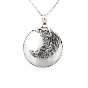 Leon Baker Sterling Silver and Mother of Pearl Leaf Pendant_0