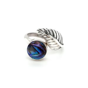 Leon Baker Sterling Silver Leaf and Paua Shell Ring_0