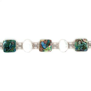 Leon Baker Sterling Silver Paua Shell and Mother of Pearl Bracelet_0