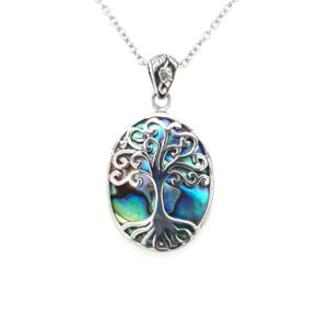 Leon Baker Sterling Silver and Paua Shell Tree of Life Pendant_0