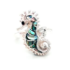 Leon Baker Sterling Silver and Paua Shell Seahorse Ring_0