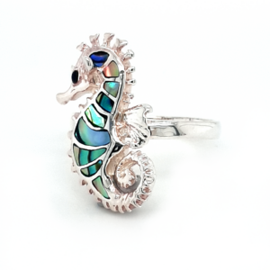Leon Baker Sterling Silver and Paua Shell Seahorse Ring_1