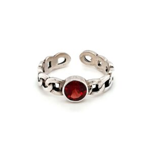 Leon Baker Sterling Silver and Garnet Chain Ring_0