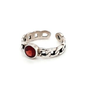 Leon Baker Sterling Silver and Garnet Chain Ring_1