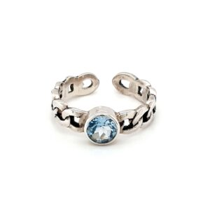 Leon Baker Sterling Silver and Blue Topaz Chain Ring_0