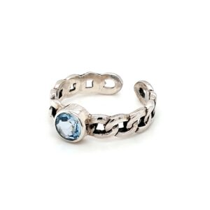 Leon Baker Sterling Silver and Blue Topaz Chain Ring_1