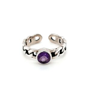 Leon Baker Sterling Silver and Amethyst Chain Ring_0