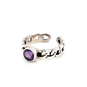 Leon Baker Sterling Silver and Amethyst Chain Ring_1
