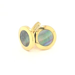 Leon Bakers Golden Stainless Steel and Black Mother of Pearl Cufflinks_0