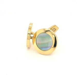 Leon Bakers Golden Stainless Steel and Black Mother of Pearl Cufflinks_1