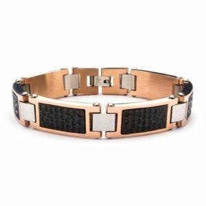 Leon Baker Stainless Steel Tri-Tone Hammered Link Bracelet_0