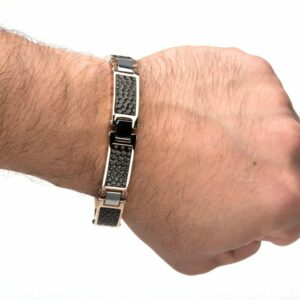 Leon Baker Stainless Steel Tri-Tone Hammered Link Bracelet_1