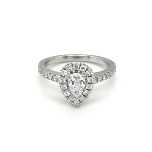 Leon Bakers 18K White Gold Pear Shaped Engagement Ring_0