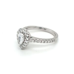 Leon Bakers 18K White Gold Pear Shaped Engagement Ring_1