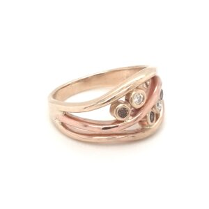 Coral Bay Collection Handmade Yellow and Rose Gold Diamond Ring_1