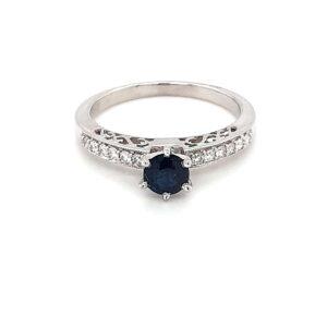 Leon Bakers 18K White Gold Sapphire Engagement Ring_0