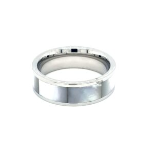 Leon Baker Stainless Steel and Mother of Pearl Ring_0