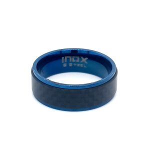 Leon Baker Stainless Steel Blue Plated and Solid Carbon Fiber Ring_0