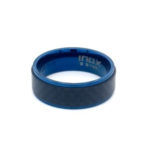 Leon Baker Stainless Steel Blue Plated and Solid Carbon Fiber Ring_1