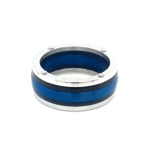 Leon Baker Stainless Steel and Blue Band_0