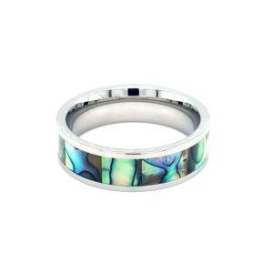 Leon Baker Stainless Steel and Australian Abalone Shell Ring_0