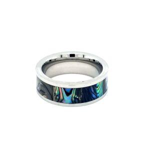 Leon Baker Stainless Steel and Australian Abalone Shell Ring_1