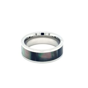 Leon Baker Stainless Steel and Black Mother of Pearl Ring_0