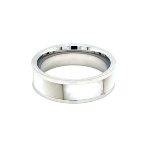 Leon Baker Stainless Steel and Australian Mother of Pearl Ring_0