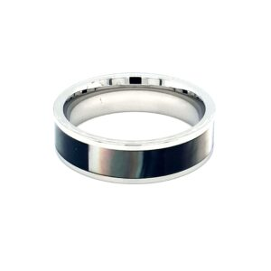 Leon Baker Stainless Steel and Black Mother of Pearl Ring_1