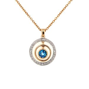 Leon Baker 9K White and Yellow Gold Circular Pendant with Diamonds and Blue Topaz_0