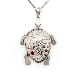 Leon Baker Sterling Silver and Treated Ruby Freshwater Turtle Locket Pendant_0