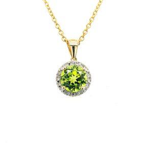Leon Baker 9k Yellow Gold and Peridot with White Diamond Pendant_0