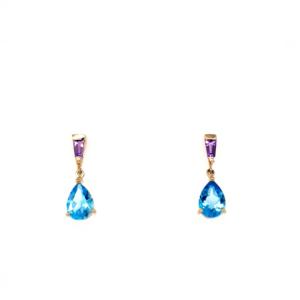 Leon Baker 9K Yellow Gold Blue Topaz and Amethyst Earrings_0