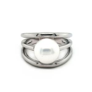 Leon Baker Sterling Silver Wide Fresh Water Pearl Ring_0