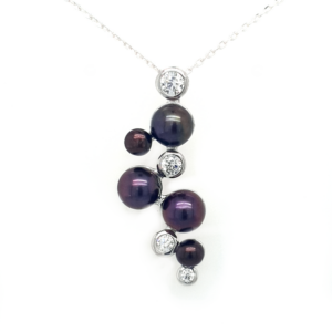 Leon Baker Sterling Silver Black Freshwater Pearl and Cubic Zirconia Pendant_0